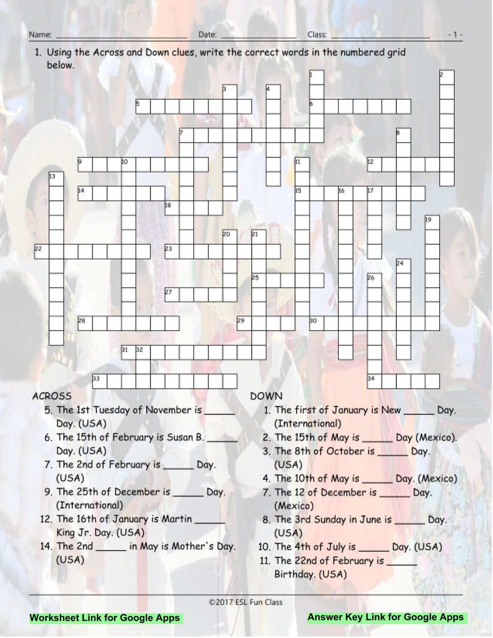 hight resolution of American vs Mexican Holidays Interactive Crossword Puzzle for Google Apps  LINKS - Amped Up Learning