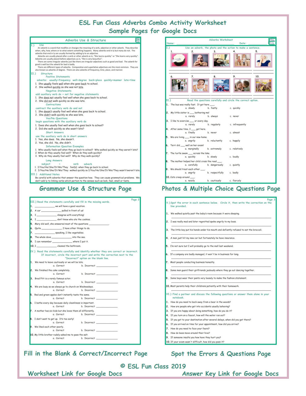 Adverbs Combo Interactive Worksheets for Google Docs LINKS - Amped Up  Learning [ 1280 x 989 Pixel ]