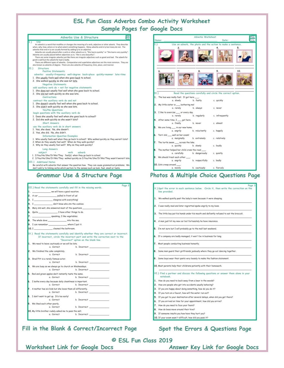 hight resolution of Adverbs Combo Interactive Worksheets for Google Docs LINKS - Amped Up  Learning