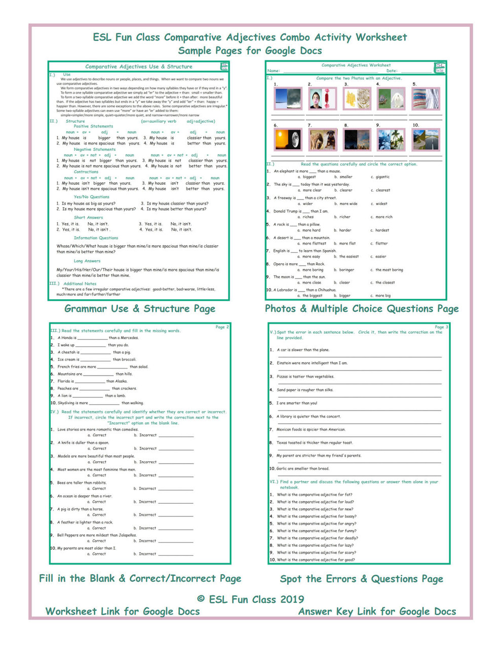 Comparative Adjectives Combo Interactive Worksheets for Google Docs LINKS -  Amped Up Learning [ 1280 x 989 Pixel ]