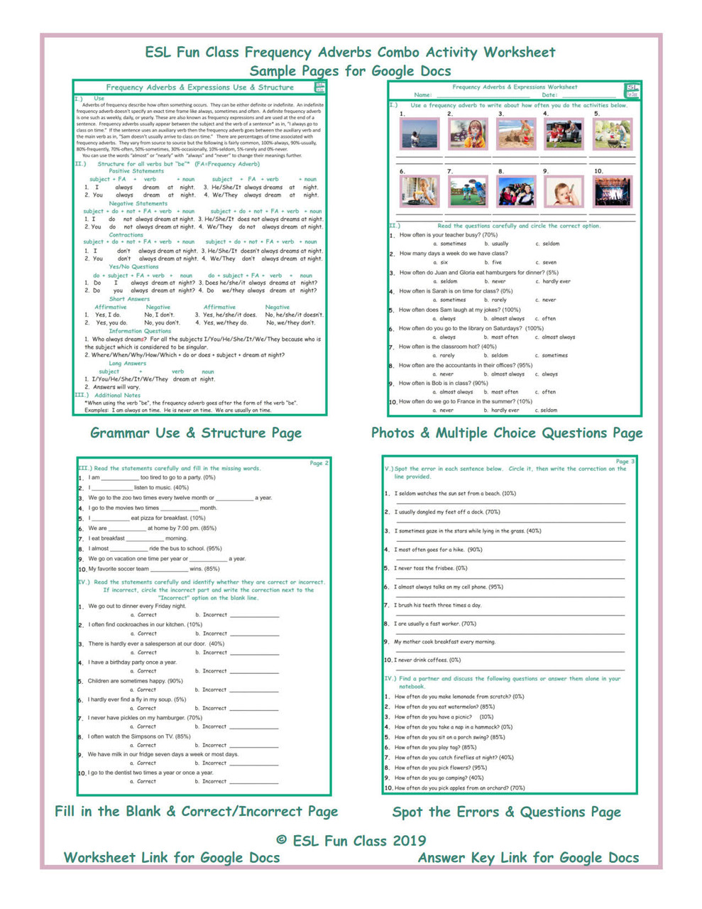 Frequency Adverbs Combo Interactive Worksheets for Google Docs LINKS -  Amped Up Learning [ 1280 x 989 Pixel ]