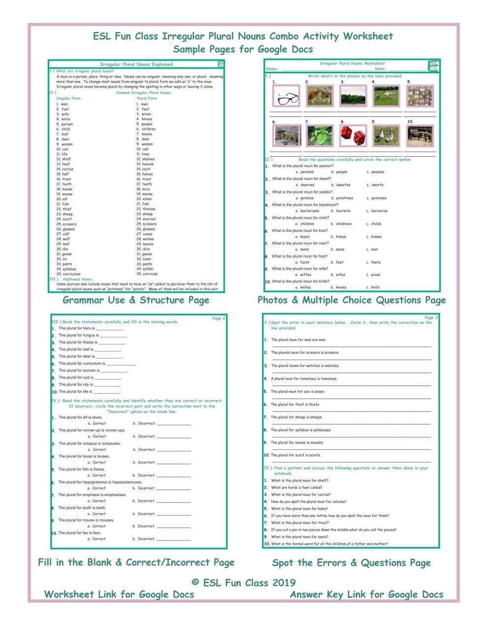 medium resolution of Irregular Plural Nouns Combo Interactive Worksheets for Google Docs LINKS -  Amped Up Learning