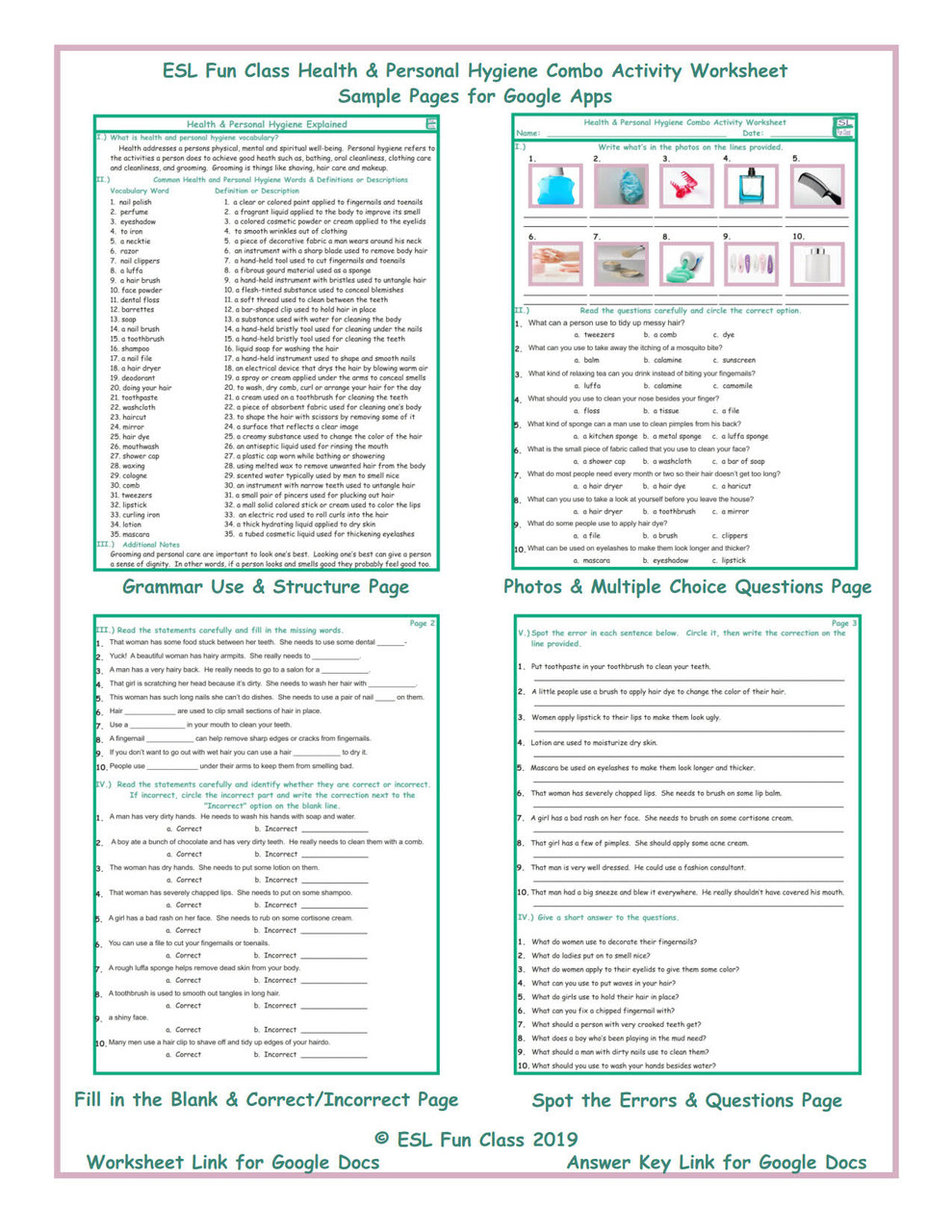 Health \u0026 Personal Hygiene Interactive Worksheets for Google Apps LINKS -  Amped Up Learning [ 1280 x 989 Pixel ]