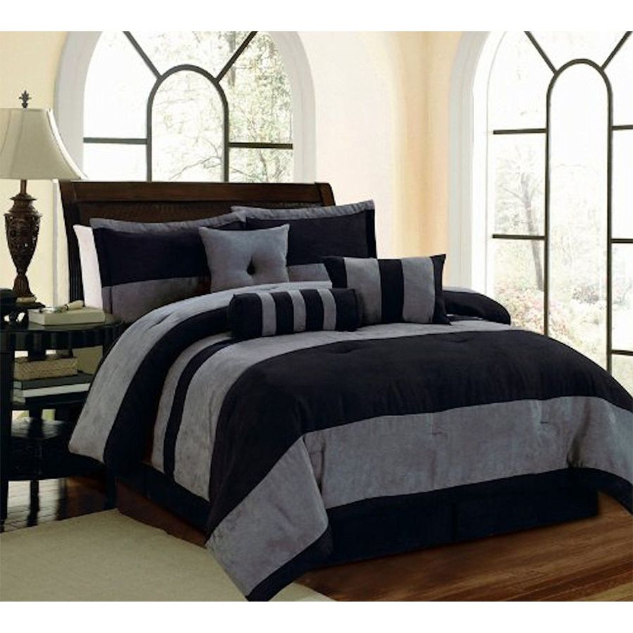 6 7 pc black and grey micro suede striped comforter set