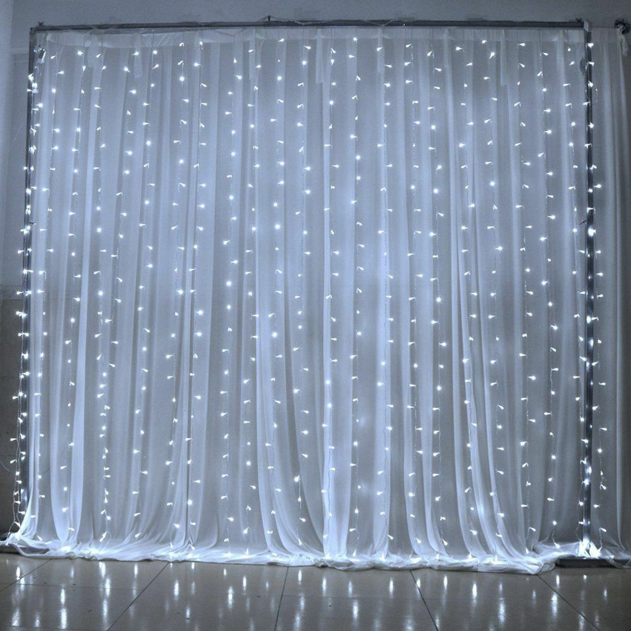 led light curtain 300 pure white lights 10 strands ul listed 8 modes 6 6 w x 9 8 l fabric optional