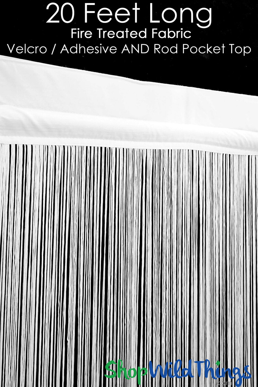 string curtain white 3 ft x 20 ft fire treated polyester cotton nassau velcro top rod pocket