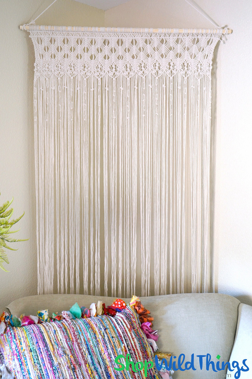 macrame tapestry curtain 39 w x 6 5 h ivory 184 strands removable wooden rod