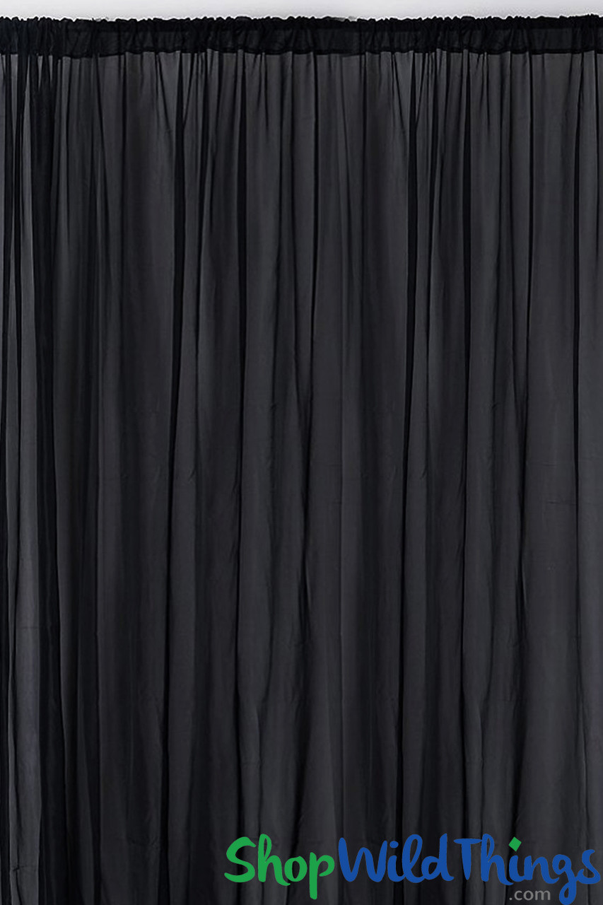 sheer draping panel black 10 tall x 10 wide w top bottom rod pockets flame resistant ceilings or backdrops