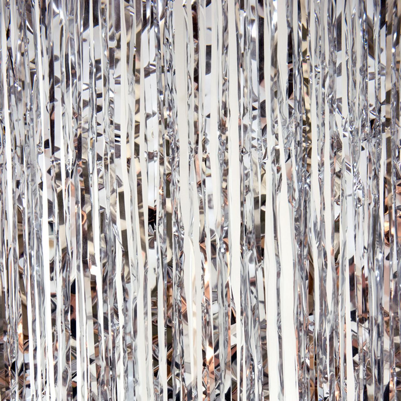 metallic foil fringe curtain silver 8