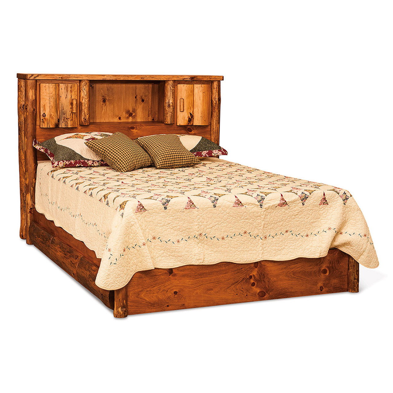 Rustic Queen Bookcase Storage Bed Cherry Valley Furniture