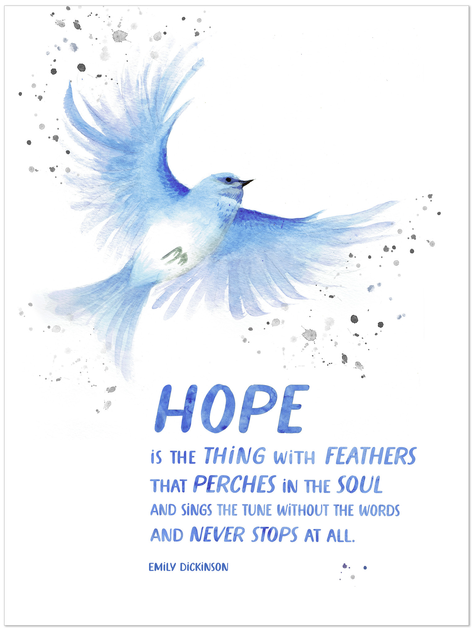 Hope Is The Thing With Feathers : thing, feathers, Thing, Feathers., Emily, Dickinson, Quote, Print., Matte, Paper,, Laminated, Framed., Multiple, Sizes, Echo-Lit