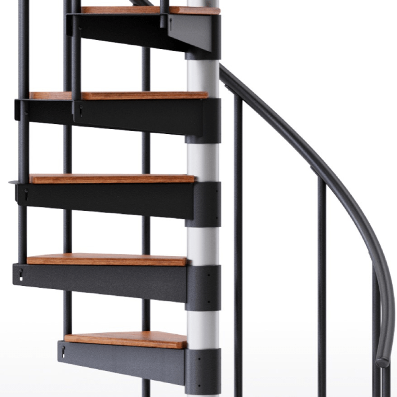 Shop The Reroute Black 3 6 Red Oak Spiral Stair Kit Mylen Stairs   Solid Wood Steps For Stairs   Staircase   Iron Rod   Oak Veneer   Rounded   Stained