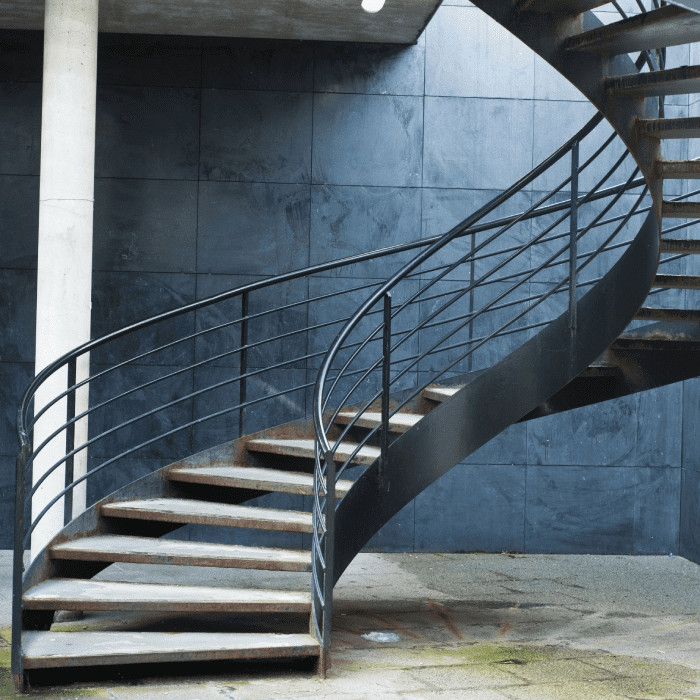 Mylen Stairs Designing Building Custom Staircases Since 1945   Custom Iron Spiral Stairs   Cable Railing   Zumbrota Mn   San Francisco   Stair Railing   Wood Treads