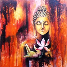 Buy Lotus Buddha Handmade Painting by PALLAVI JAIN. Code:ART_1229_2256 -  Paintings for Sale online in India.