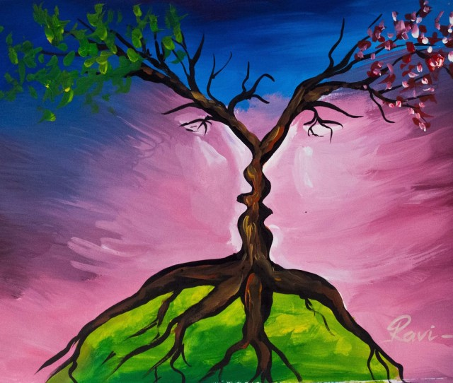 Tree Two Faces Acrylic Trees Branches Leaves Abstract Nature