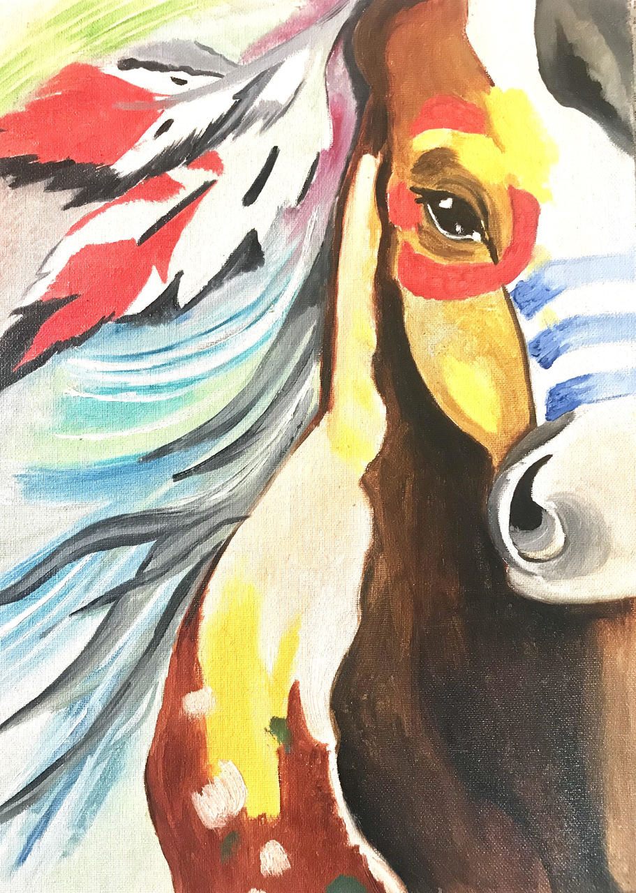 Buy Spirit The Stallion The Untamed Horse Handmade Painting By Rinka Gupta Code Art 5892 34261 Paintings For Sale Online In India