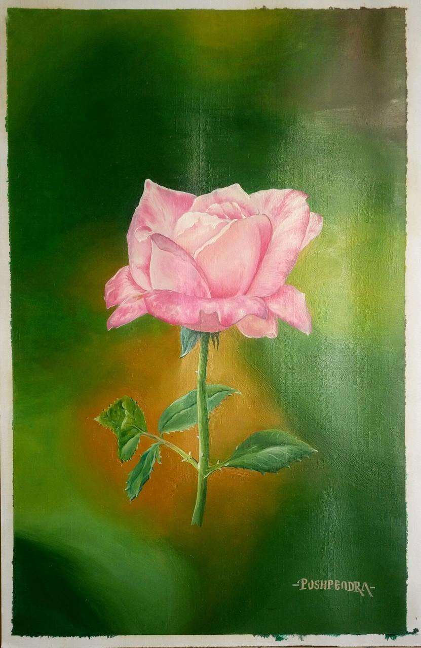 pink rose art 5291