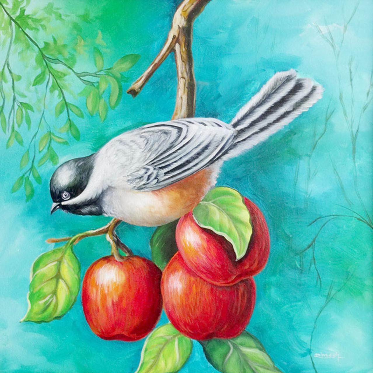bird with apple art
