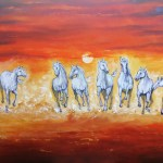 Buy Seven Horses Handmade Painting By Arjun Das Code Art 82 49344 Paintings For Sale Online In India