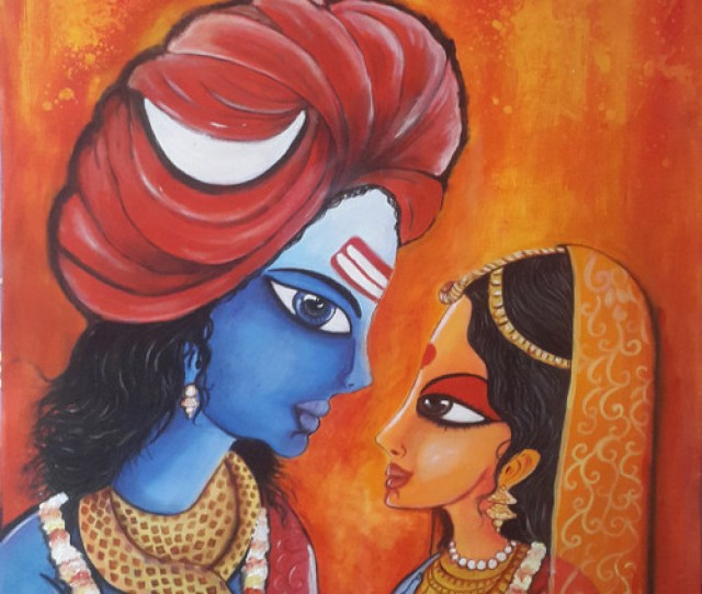 Shiva Parvati Art_4519_27430 Handpainted Art Painting 19in X 23in