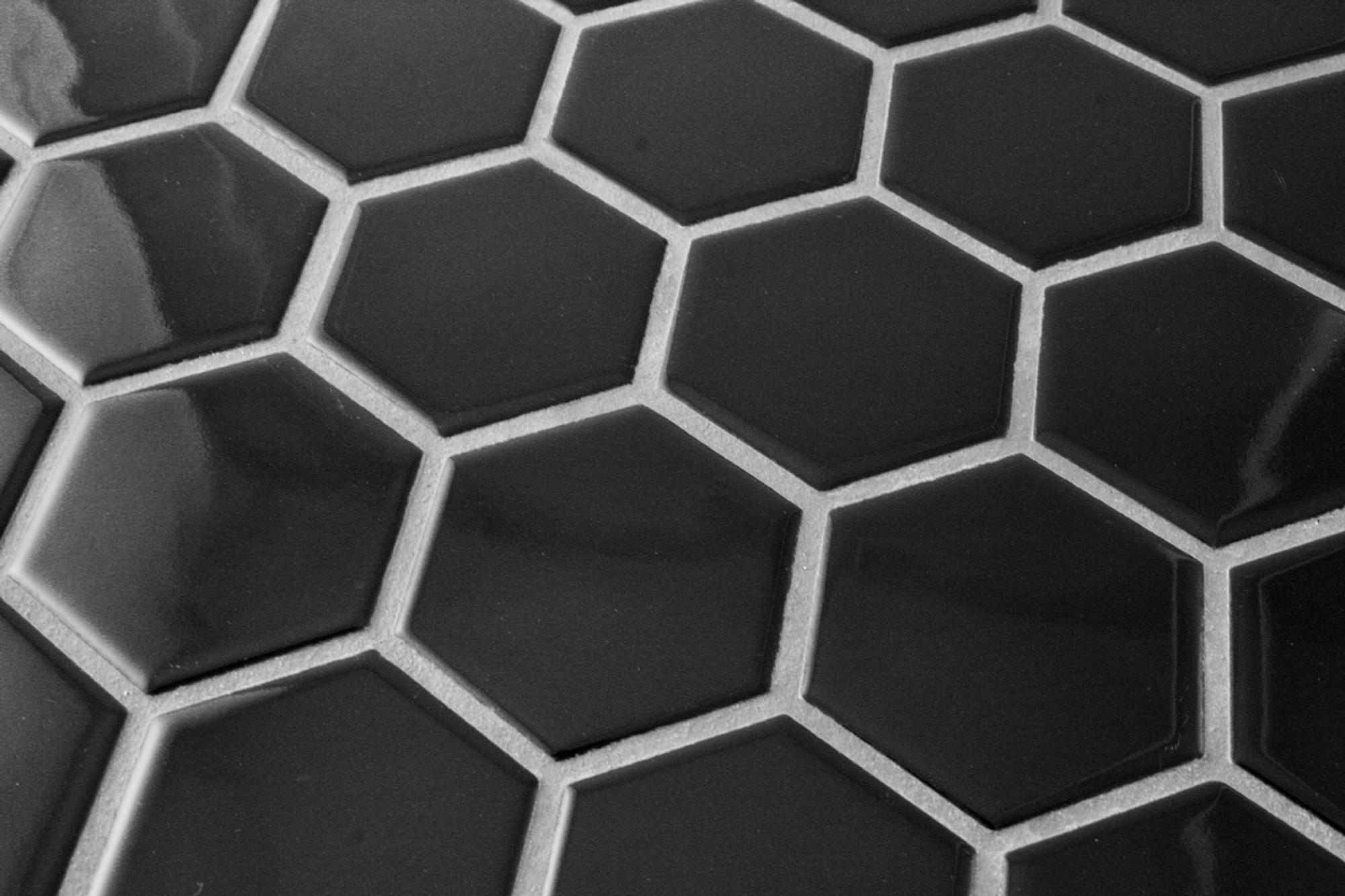 black hexagonal mosaic tile gloss 51mm