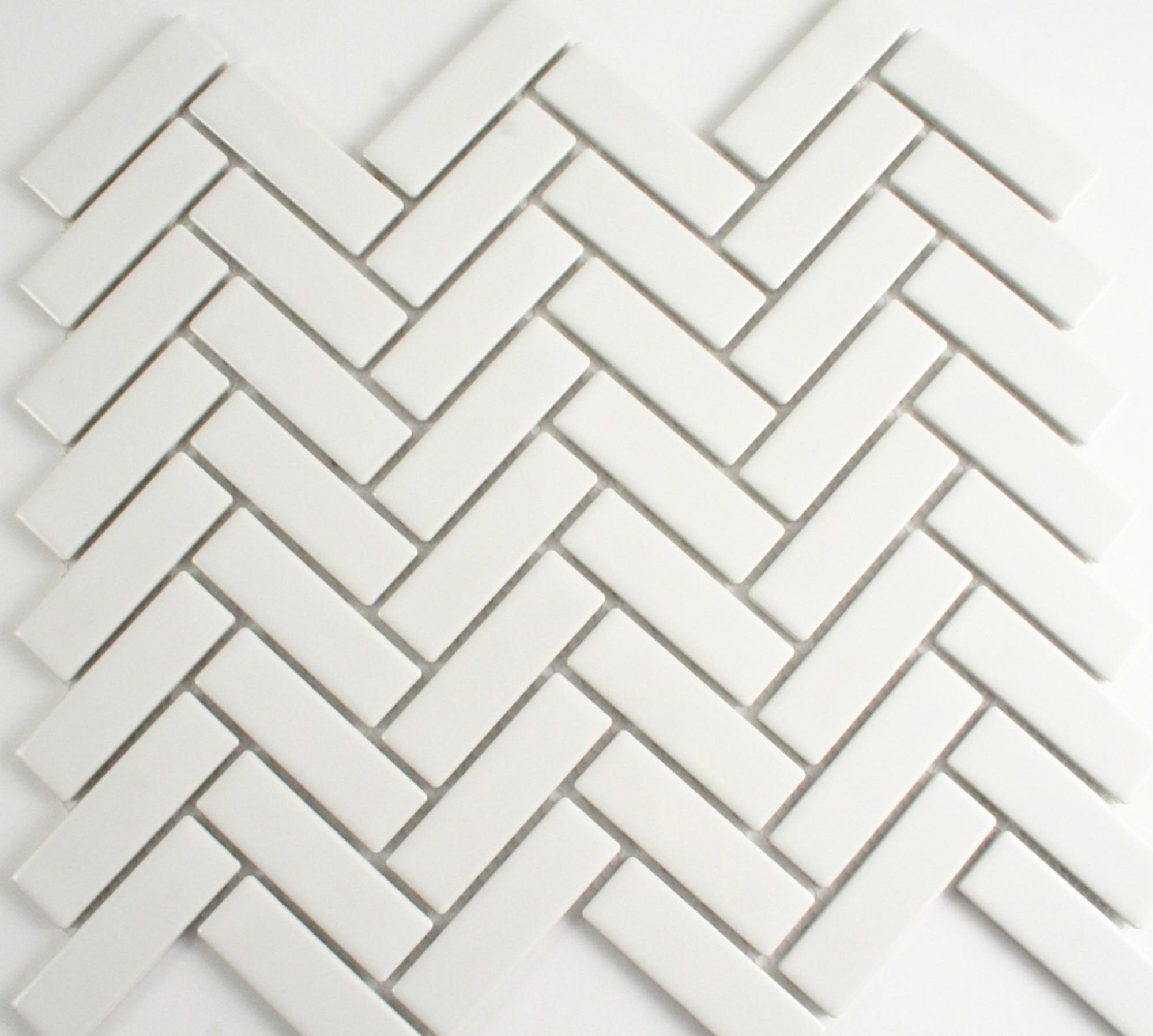 gloss white herringbone mosaic