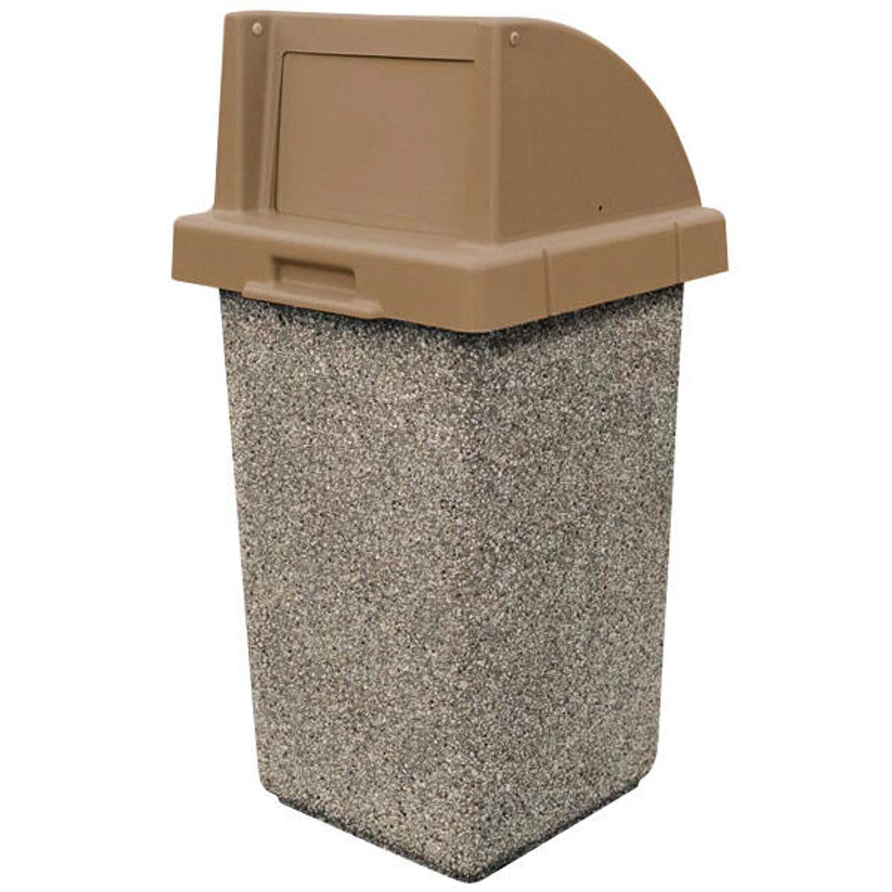 30 gallon concrete push door lid outdoor trash can tf1015qs e23 4