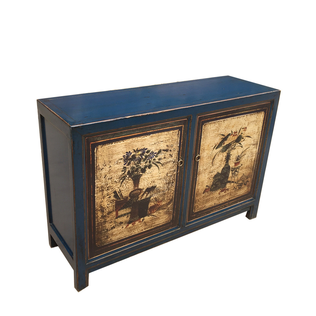 Painted Buffet Antique Blue Floral Doors Lily S Living