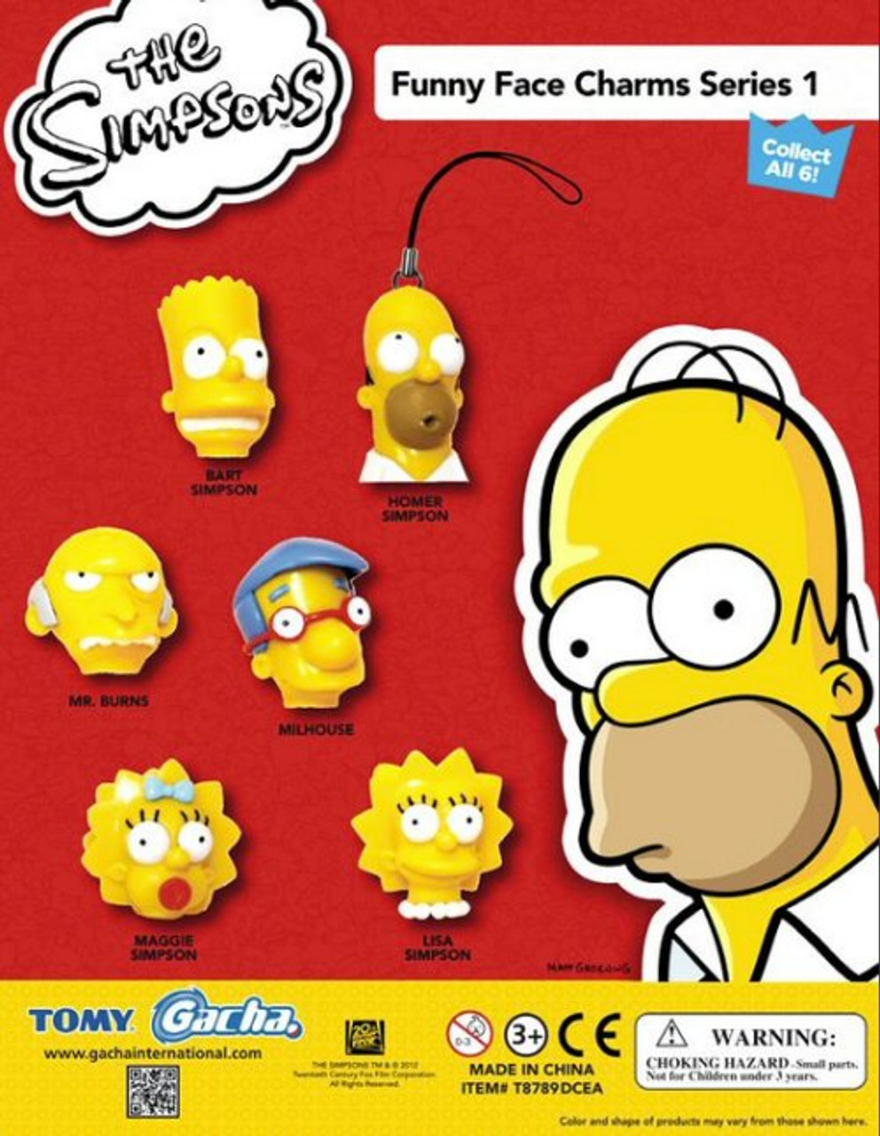 Homer Simpson Funny Face : homer, simpson, funny, Simpsons, Funny, Charms, Vending, Capsules, CandyMachines.com