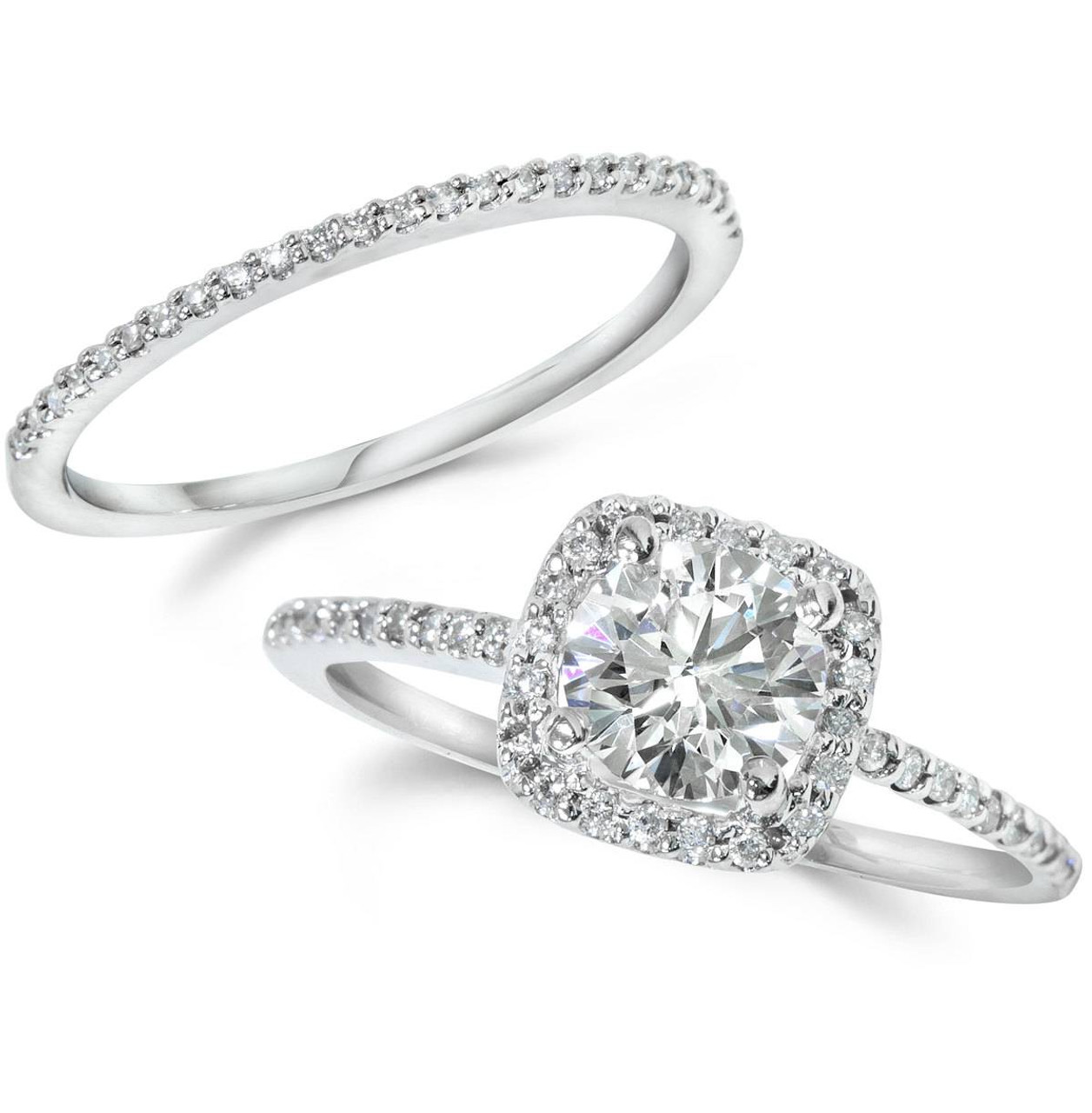 1CT Diamond Engagement Ring Cushion Halo Wedding Ring Set