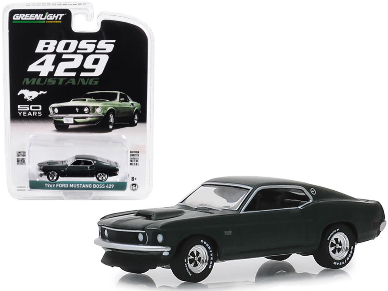The car received a special gray paint color, a unique grille, fairlane door handles for the black interior, and finned cobra valve covers. Cars Trucks Vans Diecast Toy Vehicles Hobby Exclusive 1969 Ford Mustang Fastback 1 64 Greenlight
