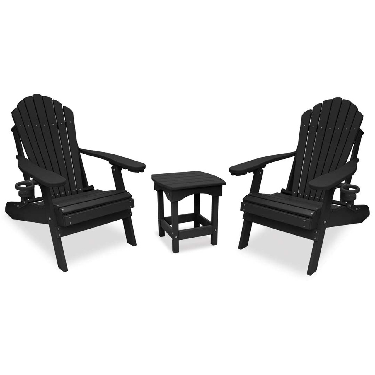 Adirondack Chair Set Outer Banks 3 Piece Deluxe Adirondack Chair Set With Harbor Side Table Available In 13 Colors