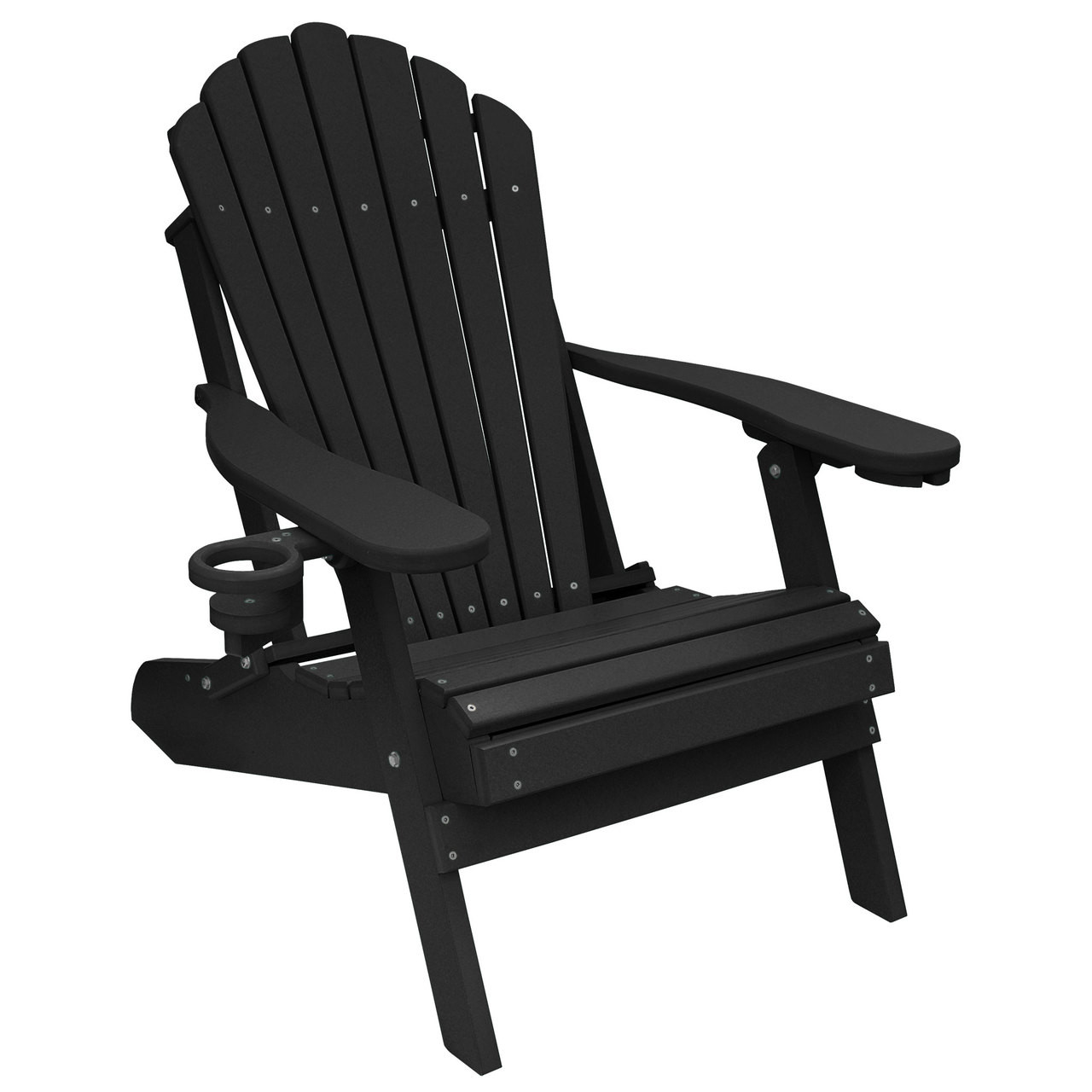 Weatherproof Adirondack Chairs Outer Banks Deluxe Oversized Poly Lumber Folding Adirondack Chair With Cup Holders Available In 18 Colors
