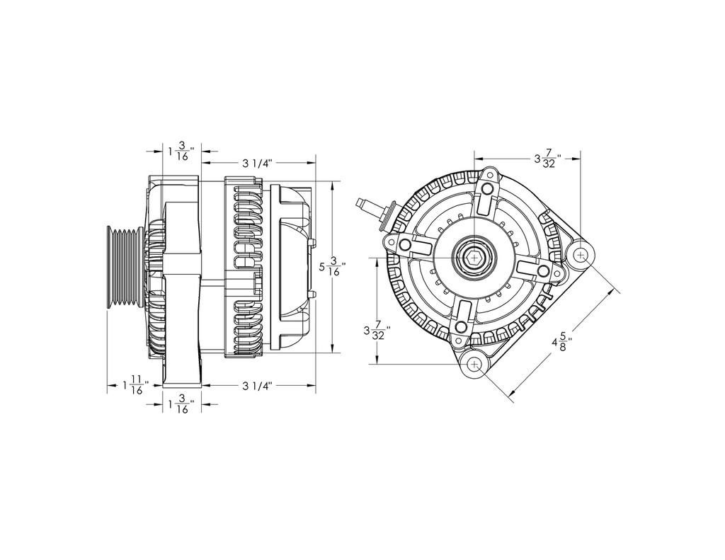 170 amp high output one wire alternator ford 5 0l coyotes series 170 amp compact universal [ 1024 x 791 Pixel ]