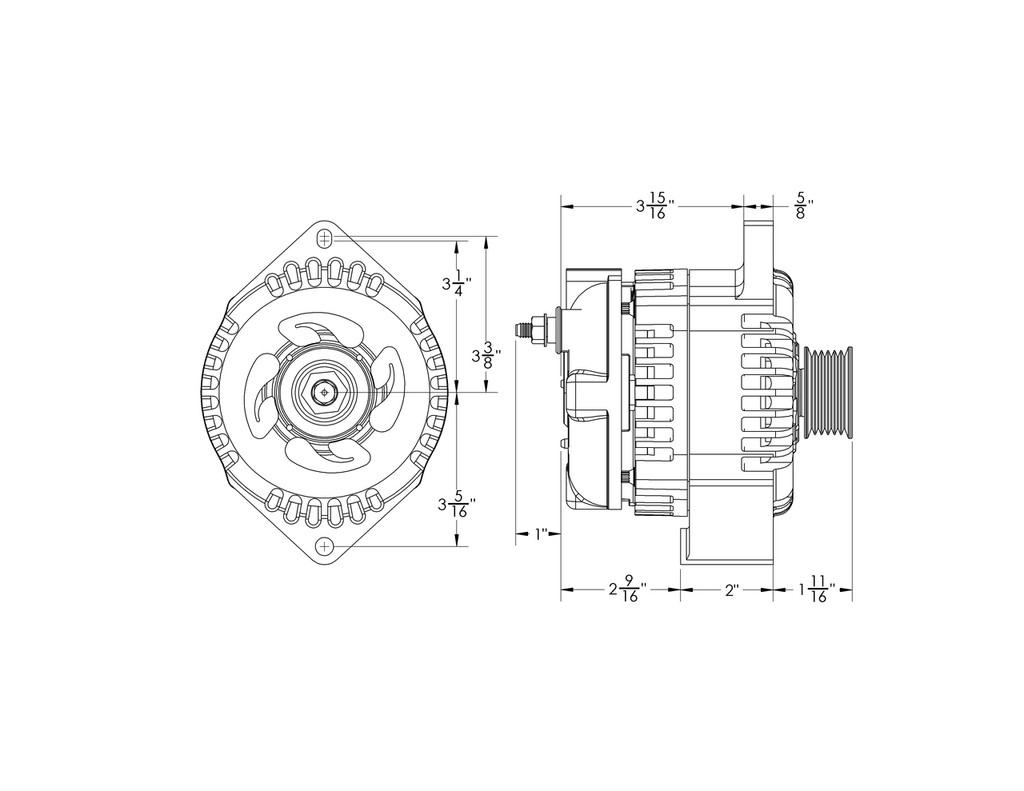 small resolution of 170 amp high output marine alternator to replace 20827 11si