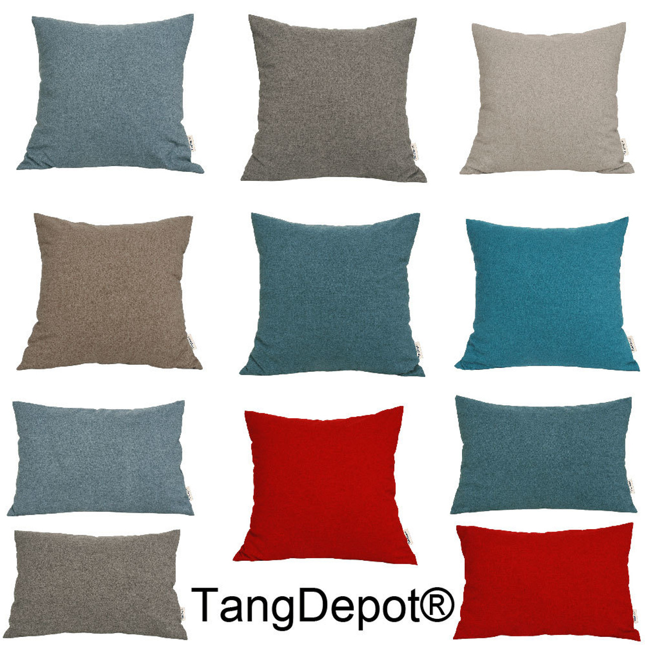 tangdepot solid wool like throw pillow cover euro sham cushion sham super luxury soft pillow cases handmade many colors sizes avaliable