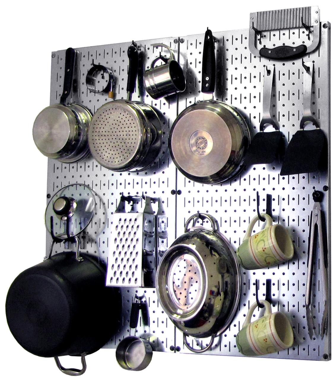 pegboard kitchen solid wood cabinets steel organizer metallic hanging pot rack wall