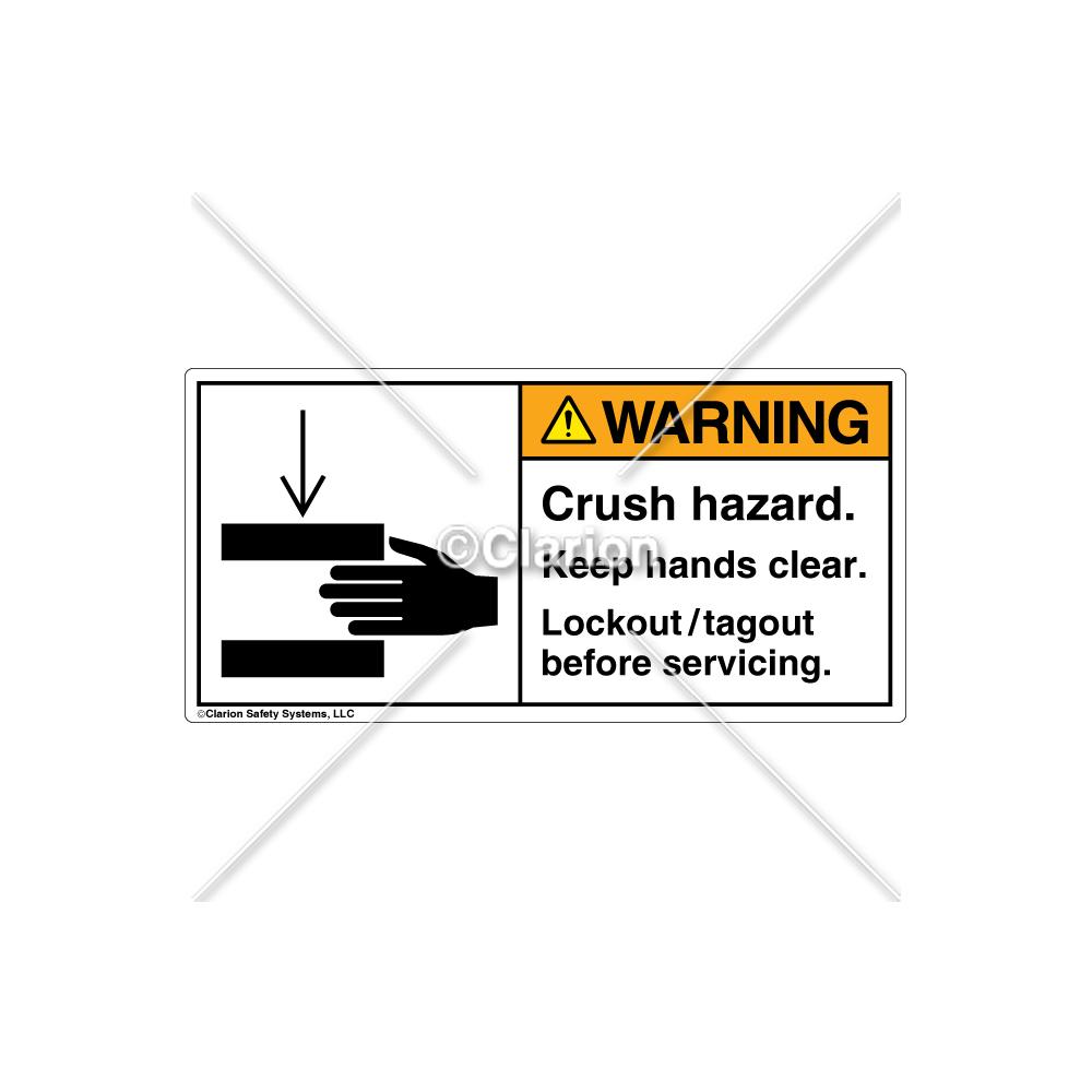 medium resolution of warning crush hazard label 1179 m9whpk wht