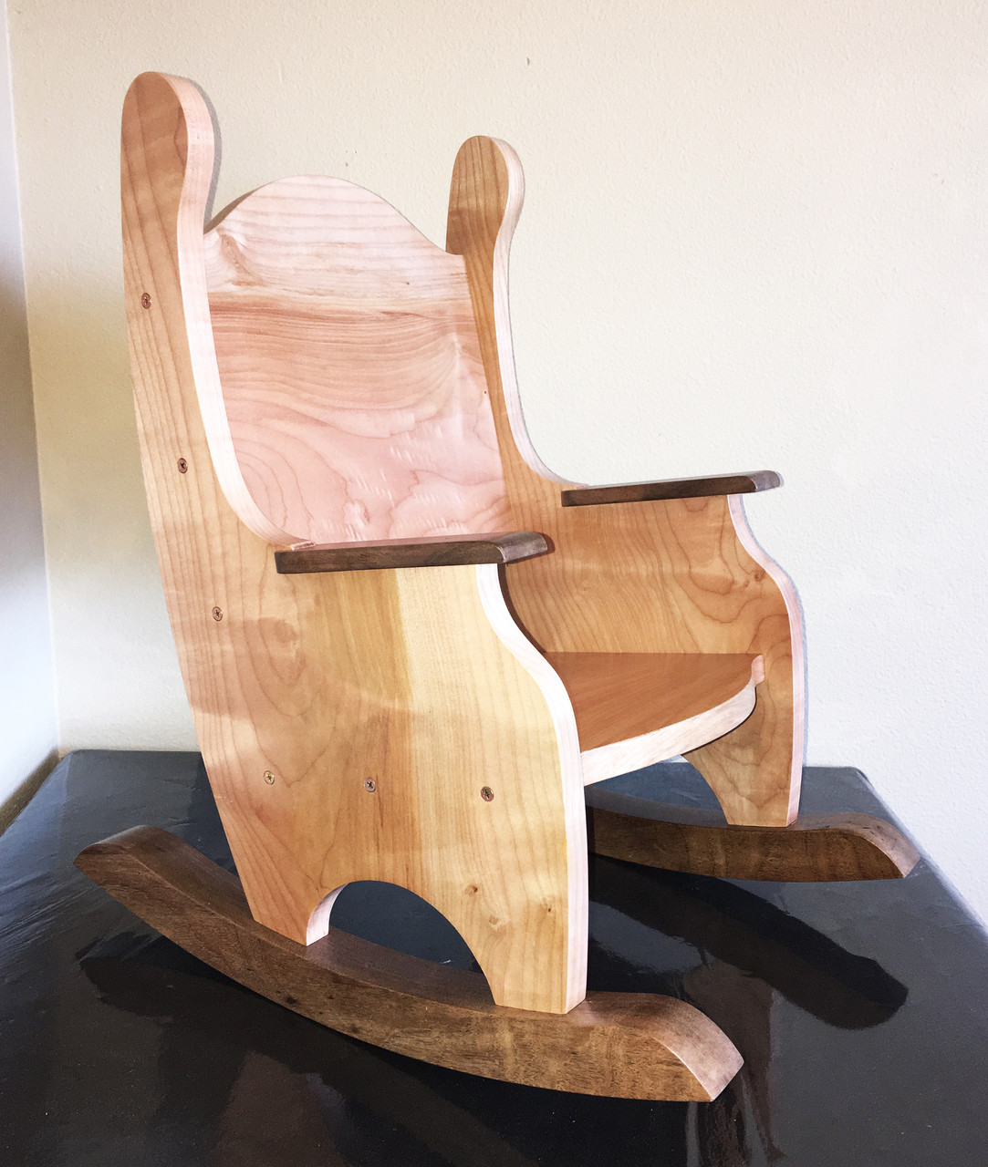Banana Rocker Chair Solid Pacific Maple And Black Walnut Children S Rocking Chair