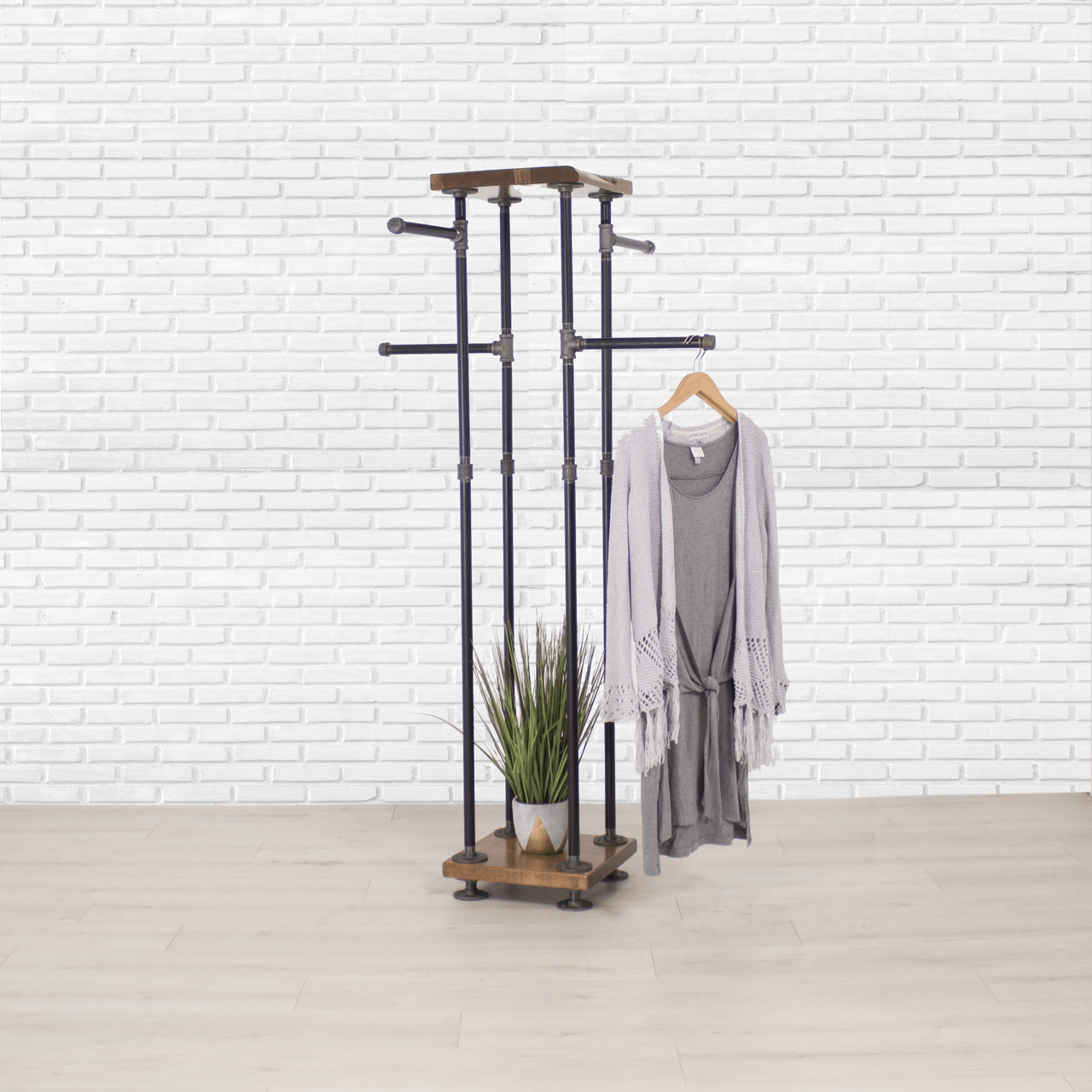 industrial pipe and wood clothes rack 4 way garment rack clothing rack closet organizer clothing storage and display