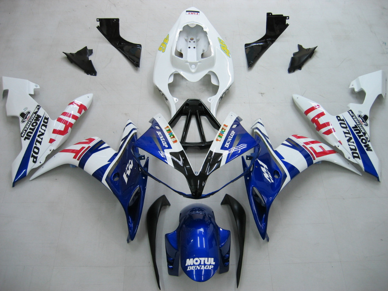 fairings yamaha yzf r1 blue white no 46 fiat racing 2004 2006 [ 1024 x 768 Pixel ]