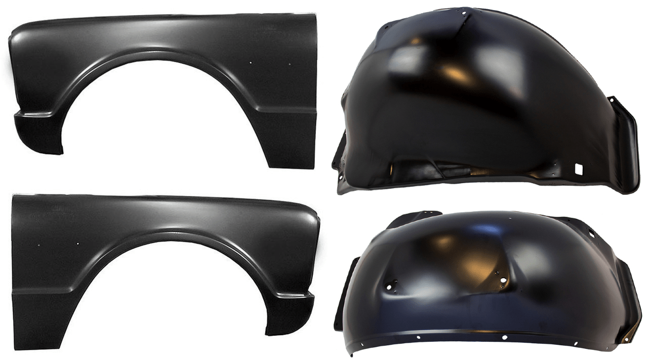 medium resolution of lh rh 1967 chevy gmc truck steel front fenders and inner fenders