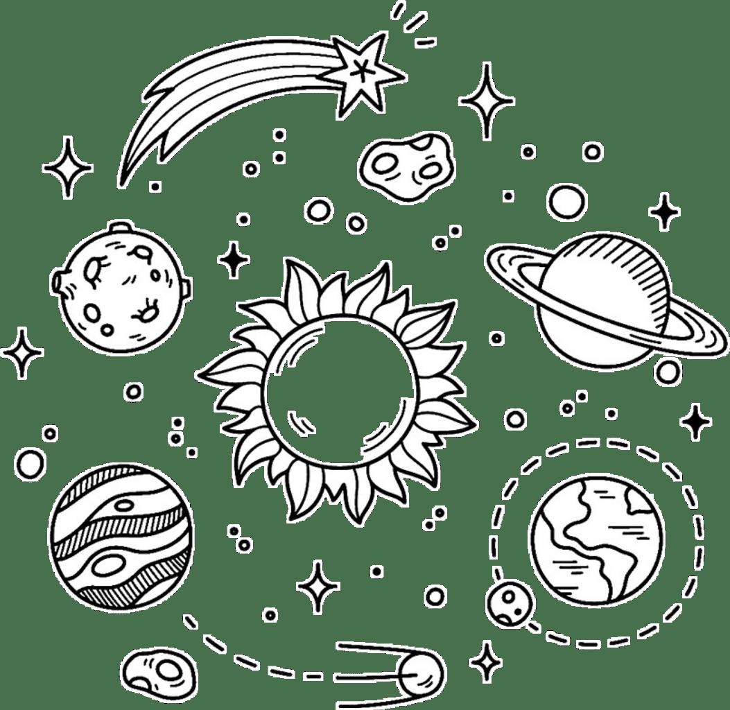 Galaxy Stars Planets Black White Overlay Design Sticker