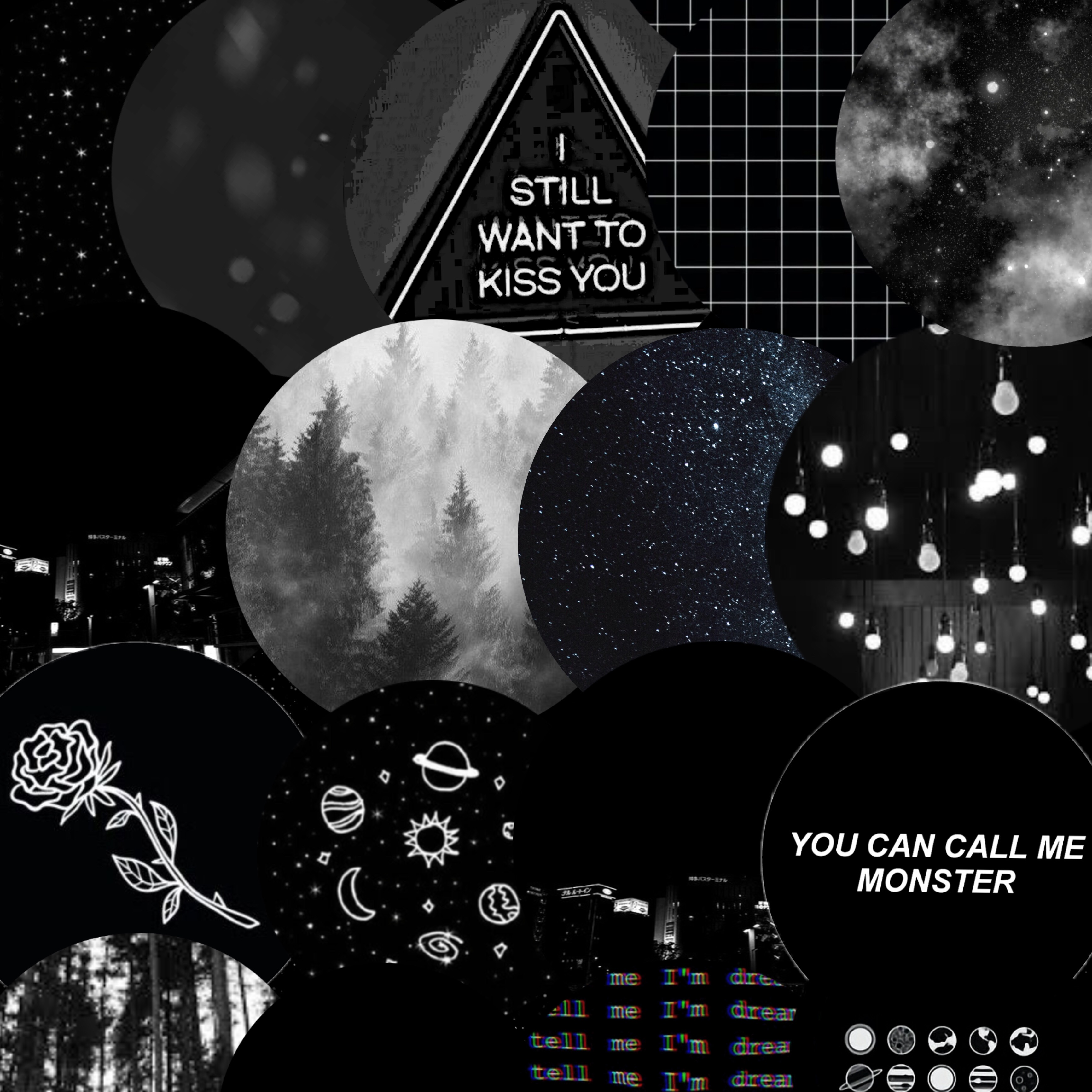 Black And White Aesthetic Background Collage