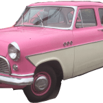 Car Clasic Retro Pink Old Girly Cars Sticker By Max