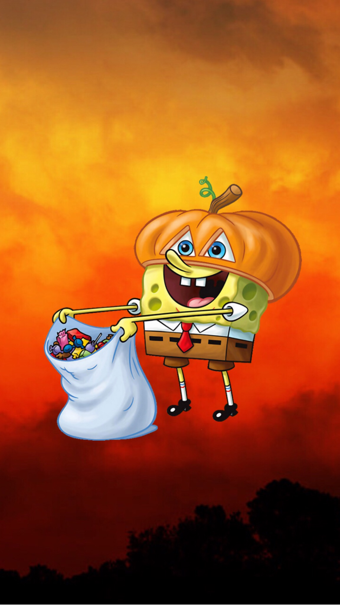 spongebob halloween wallpaper freetoedit