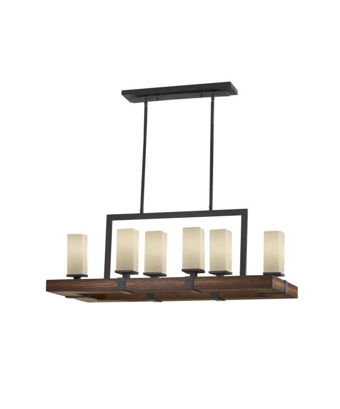 Shown In Antique Forged Iron And Aged Walnut Finish Cream Etched Glass