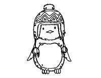Disegno di Pinguino bambino con il cappello da Colorare