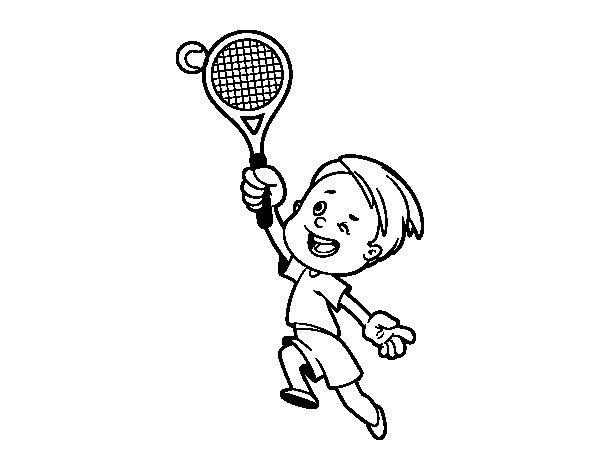 Disegno di Ragazzo giocando a tennis da Colorare