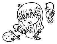 Disegno di Sirenetta e le sue amiche da Colorare - Acolore.com